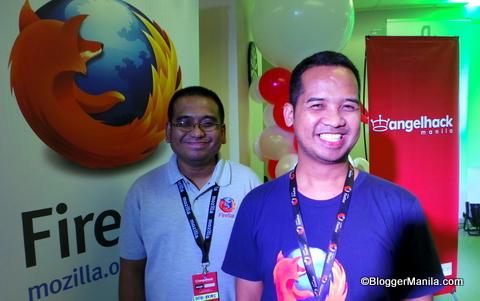 Mozilla Firefox Philipines is one of AngelHack Manila Partners. Mozilla Firefox Members Bob Reyes (left) and Eusebio Barrun, jr (right) in photo