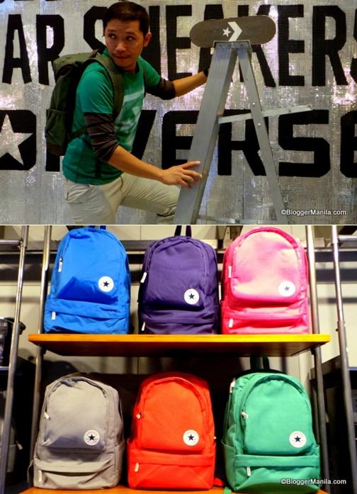 The ensemble of green Converse shirt matches the green Converse Bag.