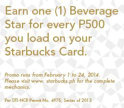 Free Starbucks Beverage Stars for every P500 Load