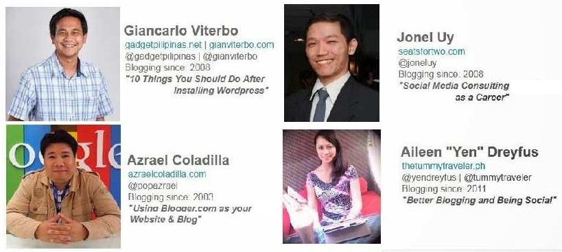 Speakers for the  Mozilla Philippines, Social Media Series: Blogging 101