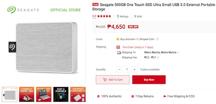 Seagate One Touch SSD 500G